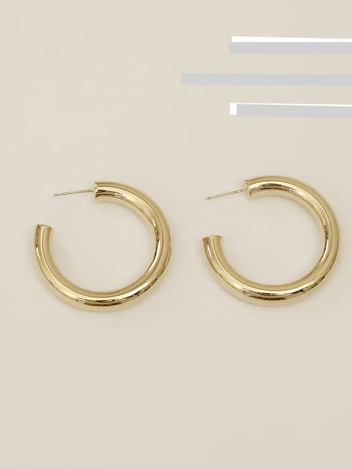 14k Gold Plating [medium] Copper Alloy Round Minimalist Hoop Earring